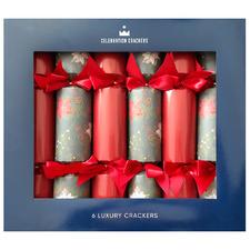 6 Piece Traditional Poinsettia Christmas Cracker Set