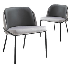 Grey Rubicon Velvet & Faux Leather Dining Chairs (Set of 2)