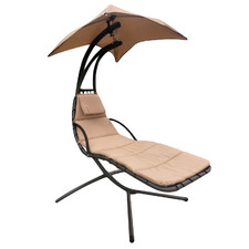 Beige Arcon Lounge Chair with Canopy