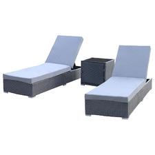 2 Seater Arcon PE Rattan Sun Lounge Set