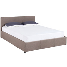Beige Luxury Gas Lift Bed Frame with Headboard