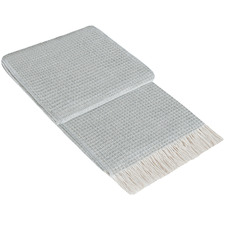 Light Grey Paddington Fine Merino Wool-Blend Throw Rug
