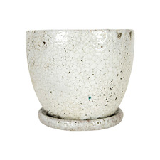 Tang High Fire Clay Planter with Saucer