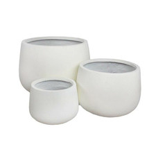3 Piece Topini Fibre Clay Squat Congo Planter Set