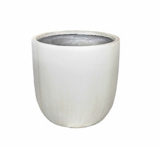 25cm White Garden Lite Fibre Clay Egg Planter