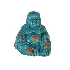 Antique Blue Happy Buddha High Fire Clay Garden Statue