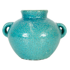Rustic Blue Tang High Fire Clay Urn