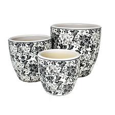 3 Piece Black & White Tang High Fire Clay Egg Pot Set (Set of 3)