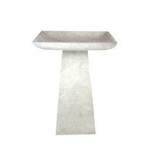 Ghostgum White Topini Square Fibre Clay Bird Bath