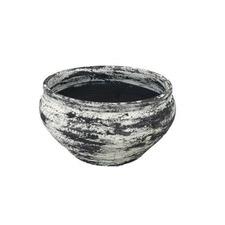 Grey & White Stoneware Bowl Planter