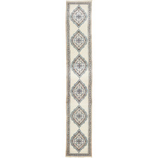 590 x 81cm Persian Hand-Knotted Wool Naen Runner