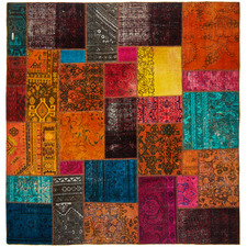 200 x 200cm Persian Hand-Knotted Wool Patchwork Rug