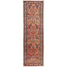 310 x 88cm Persian Hand-Knotted Wool Sarouk Runner