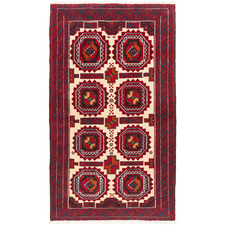 182 x 100cm Persian Hand-Knotted Wool Balouchi Rug
