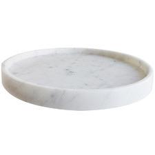 White Carrara Marble Round Serving Tray