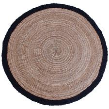 Black Afono Hemp-Blend Round Rug