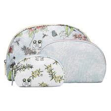 3 Piece Blue Bushlands Cotton Cosmetic Bag Set