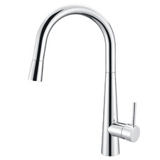 Polished Chrome Round Pull-Out Kitchen Mixer Tap