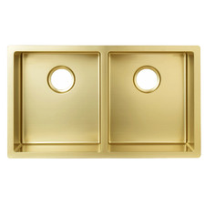 W76 x D44cm Brushed Gold Stainless Steel Double Kitchen Sink Bowl