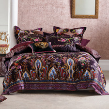 Purple Wild Flower Cotton Sateen Quilt Cover Set