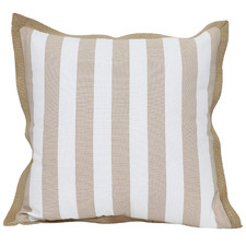 White & Beige Striped Coastal Cotton Cushion