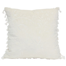 White Tasselled Full Bloom Velvet Cushion