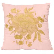 Peach Embroidered Full Bloom Velvet Cushions (Set of 2)
