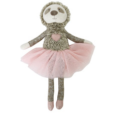Brown & Pink Furry Little Friends Pink Sloth Plush Toy