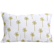 White & Gold Embroidered Tranquil Cotton Cushion