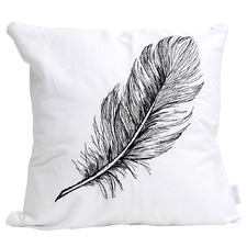 White & Black Embroidered Tranquil Cotton Cushion