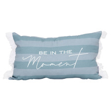 Blue Fringed Coastal Cotton Cushions (Set of 2)