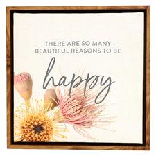 Flourish Happy Framed Canvas Wall Art