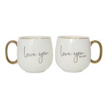 2 Piece White & Gold Love You 400ml Ceramic Mugs Set