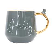 Grey & Gold Hubby 500ml Ceramic Mug