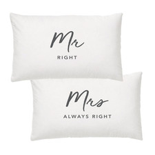 2 Piece Mr. & Mrs. Right Cotton-Blend Pillowcases Set