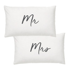 2 Piece Mr. & Mrs. Cotton-Blend Pillowcases Set