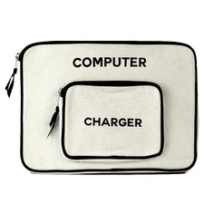2 Piece Personalised Cotton Computer Case & Charger Storage Set