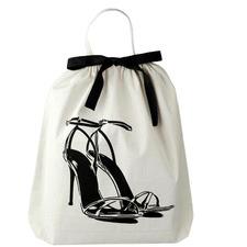 Personalised White Cotton Women's Shoe Bag