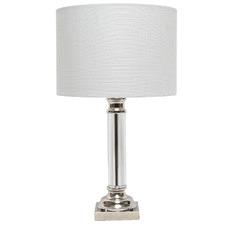 White Sabina Pillar Glass Table Lamps (Set of 2)