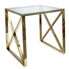 Cross Glass-Top Side Table