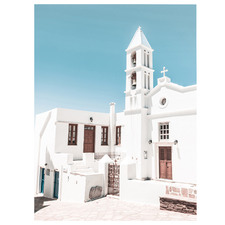 Minimal White Church Stretched Canvas Wall Art