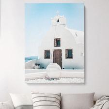 Greek Island Church Stretched Canvas Wall Art
