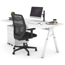 3 Piece Sherman White Leg Home Office Package