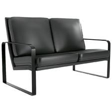 Black Lorian 2 Seater Faux Leather Sofa