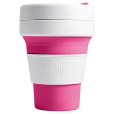 Pink Striped Stojo Silicone Pocket Cup