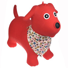 Kids' Red Dog with Scarf Inflatable Bouncy Rider