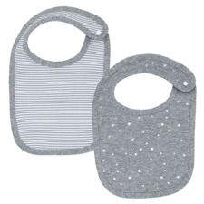 2 Piece Grey Stripe & Silver Stars Cotton Bib Set