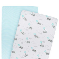 2 Piece Dream Big & Aqua Stripe Jersey Cotton Bassinet Fitted Sheet Set
