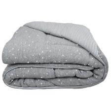 Silver Stars & Grey Stripe Jersey Cotton Cot Comforter