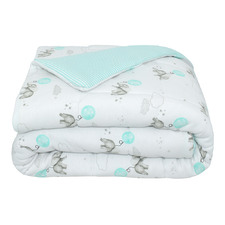 Dream Big & Aqua Stripe Jersey Cotton Cot Comforter